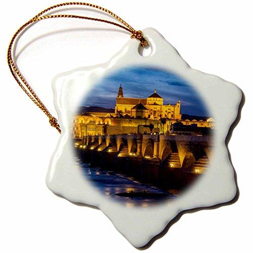 3dRose Danita Delimont - Bridges - Spain, Andalusia. Cordoba. Roman bridge across the Guadalquivir river. - 3 inch Snowflake Porcelain Ornament (orn_277894_1) by 3dRose