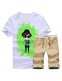 Real Spark Big Boy's 2 Piece Casual Outdoor Athletic T-Shirt and Short Set Sportswear