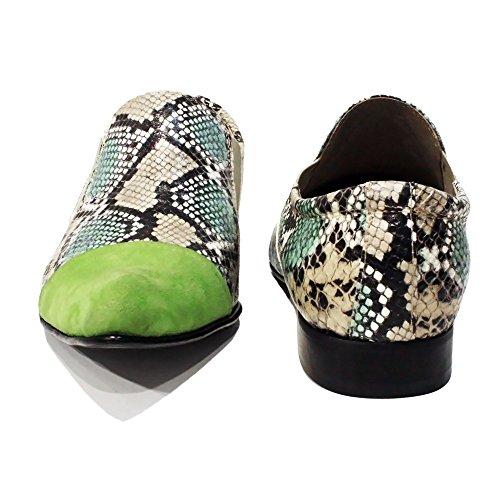 Modello Lizardo - Cuero Italiano Hecho A Mano Hombre Piel Verde Mocasines y Slip-Ons Loafers - Cuero Cuero repujado - Ponerse