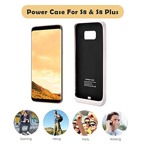 Galaxy S8 Battery Case5000mah portable External Backup Charging case Charging Battery Pack for Samsung S8 Rechargeable Extended strength Bank case White External Battery Packs
