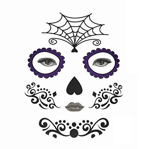Halloween Temporary Face Art Waterproof Mask Sugar Skull Tattoo Beauty Sticker (A, 15.521 cm)