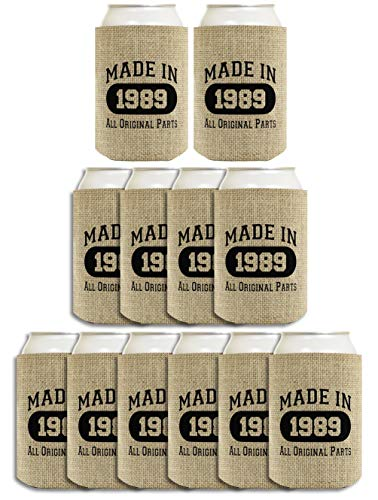 (30th Birthday Gift Coolie Made 1989 Can Coolies 12 Pack Can Coolie Drink Coolers Coolies Burlap)