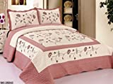 3pc Beige / Rose High Quality Fully Quilted Embroidery Bedspread Bed Coverlets Cover Set , Queen King