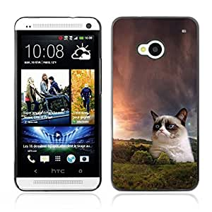 Graphic4You Grumpy Cat Funny Animal Picture Design Hard Case Cover for HTC One (M7)