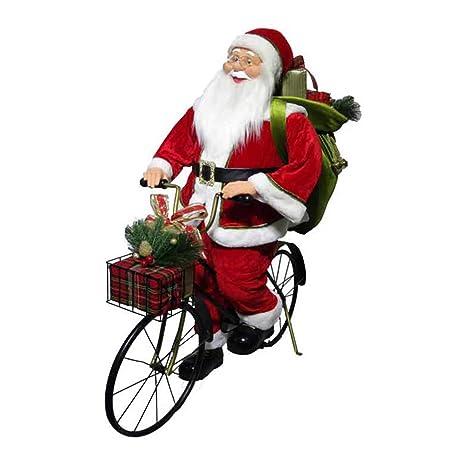 Babbo Natale In Bicicletta.Mazzeo Giocattoli Pupazzo Babbo Natale Sacco In Bici Bicicletta