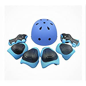 Child Multi-Sport Helmet With Knee Pads Elbow Wrist Protection Set for Skateboard Cycling Skate Scooter Blue