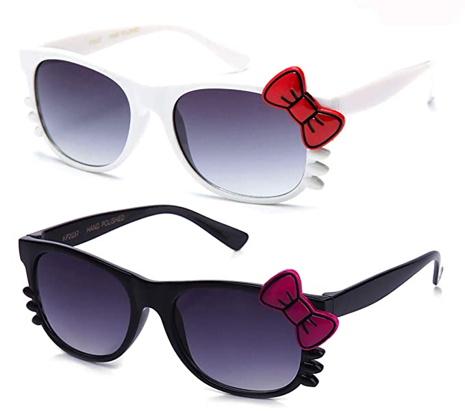 93f3fcc344 Image Unavailable. Image not available for. Color   quot Kitty quot -  Newbee Fashion Girls Cute Kitty Hello Cat Whiskers Bow Fashion Sunglasses