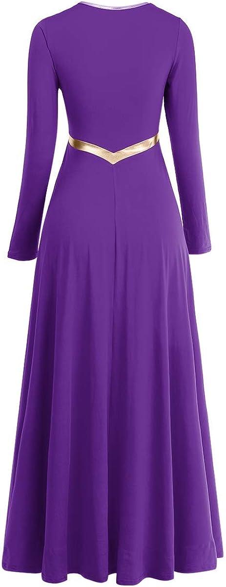 Women Metallic Cross Liturgical Praise Dance Dress Lyrical Dancewear Color Block Full Length Robe Worship Costume: Clothing