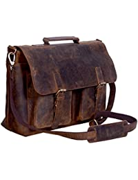 Leather Briefcase 15 Inch Retro Buffalo Hunter Leather Laptop Messenger Bag Office Briefcase College Bag Fits Upto 15.6 Inch Laptop (Buffalo Distressed Tan)