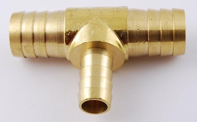 MettleAir 123-8-1PK 1//2 ID Hose Barb Tee T Union Fitting Intersection//Split Brass