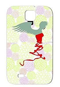 Lucent Design Art Wings Angel Miscellaneous Ribbon Lips Wing Angels Cool Ribbon Solid Case Cover For Sumsang Galaxy S4 Shatterproof Gray