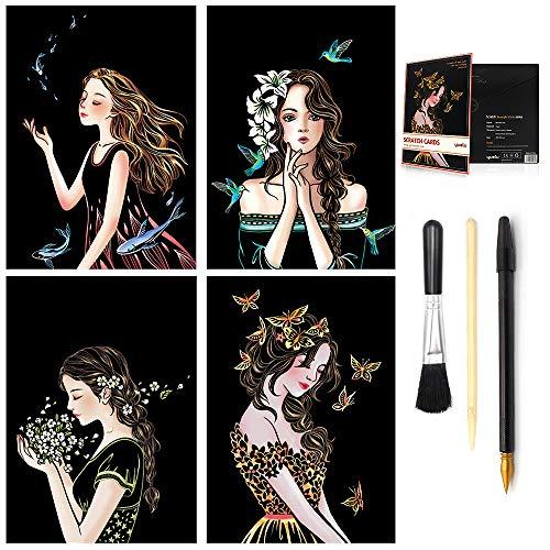 (Scratch & Sketch Art Paper (A4) for Kids & Adults, Rainbow Girls Flower Painting Scratchboard, Art&Craft, Engraving Art Set: 4 Sheets Scratch Cards & Scratch Drawing Pen, Clean Brush (Beautiful Girls))