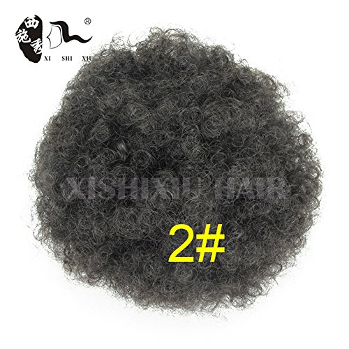 Search : XI SHI XIU Synthetic Curly Hair Ponytail African American Short Afro Kinky Curly Wrap Synthetic Drawstring Puff Ponytail Hair Extensions Wig with Clips (2#)