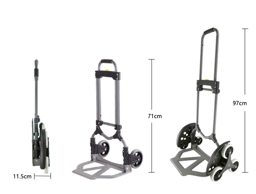 Portable Trolley, Climb The Stairs Luggage Cart Hand Truck Steel Shopping Cart Mute Trolley Folding Van Pull Portable Small Six-wheeled Cart Black Load 30 To 70 Kg (Color : GRAY) ( Color : Gray ) by Zehaer (Image #3)