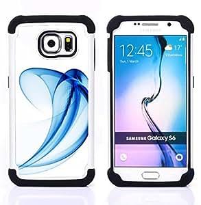 """Hypernova Híbrido Heavy Duty armadura cubierta silicona prueba golpes Funda caso resistente Para Samsung Galaxy S6 / SM-G920 [Curvy Wave líneas minimalistas Azul""""]"""