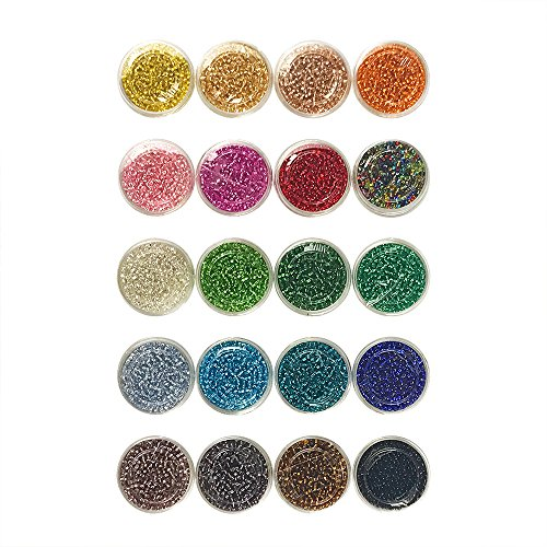 20000 PCS 2mm Round Glass Seed Silver Lined Pony Tiny Spacer Beads in Container Box for Bracelet Necklace Jewelry Making Craft 20 Colors