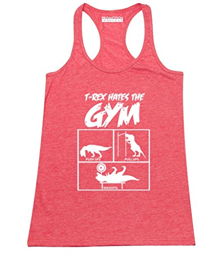 (P&B T-Rex Hates the Gym Funny Women's Tank Top, L, H. Red)