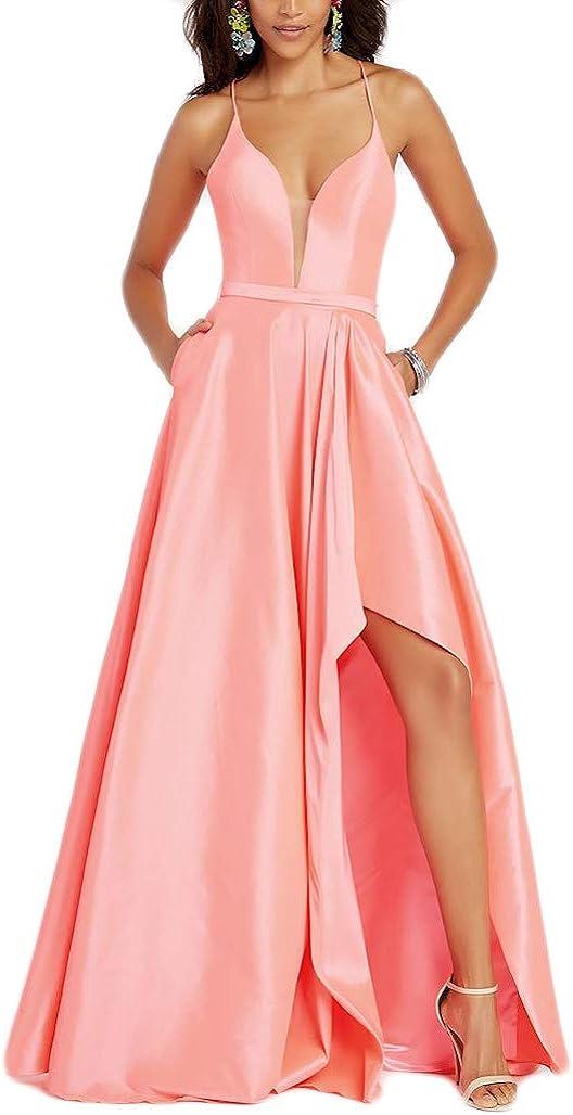 liangjinsmkj V Neck High Low Prom Dresses Long Slit Taffeta Formal Bridesmaids Evening Gown