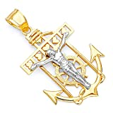 14k Two Tone Gold Jesus Crucifix Anchor Religious Charm Pendant