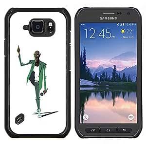 LECELL--Funda protectora / Cubierta / Piel For Samsung Galaxy S6Active Active G890A -- Music Man micrófono Cantante Arte Dibujo --