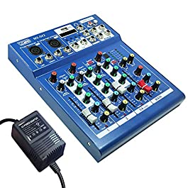 Vidpro MX-042 Professional 4 Channel / 2 Bus Audio Mixer with Bluetooth Connectivity. For singers, musicians, DJs…