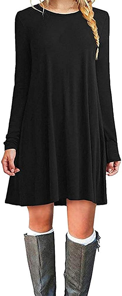 TALLA XL. ZHANGNA Mujer Suelto Casual Vestido de la Camiseta Negro Manga Larga XL