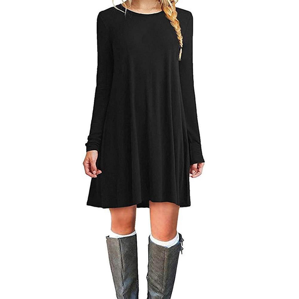TALLA L. ZHANGNA Mujer Suelto Casual Vestido de la Camiseta Negro Manga Larga