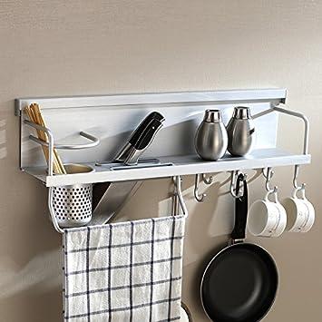 KABSJ Kitchen Storage Cocina multifunción Pan pot Almacenamiento Estanterías de pared, bastidor de soporte de la cuchilla, los condimentos Rack Rack de ...