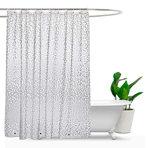 EurCross PEVA Shower Curtain Liner 54x72inch, Vinyl Waterproof Semi Translucent Weighted Shower Liner with Magnets and 9 Plastic Hooks, Cobblestone, 54 x 72 inch - Curtain Transparent Plastic