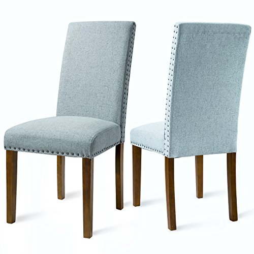 Merax Set of 2 Fabric Dining Chairs with Copper Nails and Solid Wood Legs (Light Blue) (Chairs Sitting)