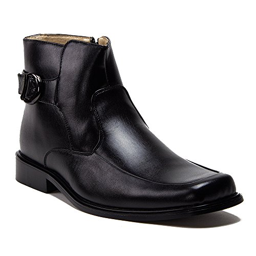 Square Toe Buckle - New Men's 38306 Leather Lined Ankle High Square Toe Buckle Accent Dress Boots, Black, 7