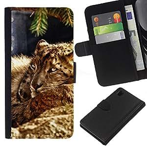 KLONGSHOP // Tirón de la caja Cartera de cuero con ranuras para tarjetas - Leopard peluda bestia Naturaleza Gato Animal - Sony Xperia Z1 L39 //
