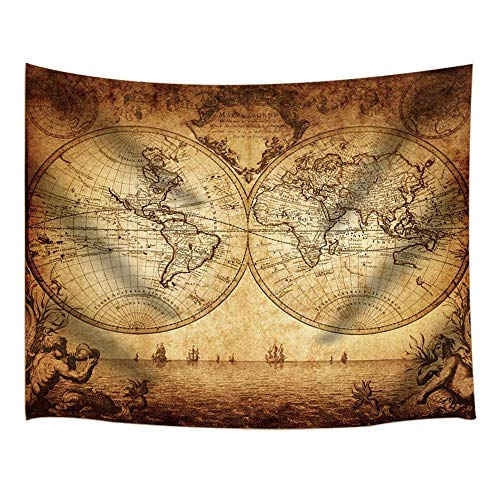 JAWO Old World Map Tapestry Wall Hanging, Vintage Style Map Retro Sea Route on Ancient Treasure Map Wanderlust Tapestries for Dorm Living Room Bedroom, Wall Blanket Beach Towels Home Decor - Old World Style Wall