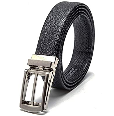 """Men's Leather Automatic Buckle Ratchet Dress Belt for Men Perfect Fit Waist Size Up to 46""""-Functional, Stylish and Durable"""