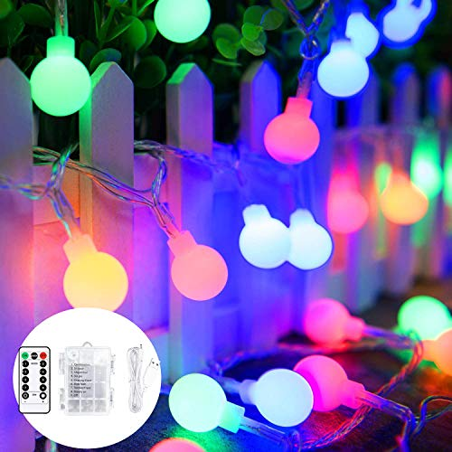 45 ft 80 LED Globe Fairy Lights with 8 modes Remote Control, Battery Powered OR USB Charge Ball String Lights,Waterproof Bulb Fairy Lights for Home,Party,Christmas and Halloween.(Multi-color)