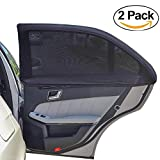 Carmoni Car Side Window Sun Shade - Car Sunshade Protector - Universal Fit Slip On Stretchable Mesh Protective - Protect your kids and pets in the back seat from sun glare and heat - 2 Pack