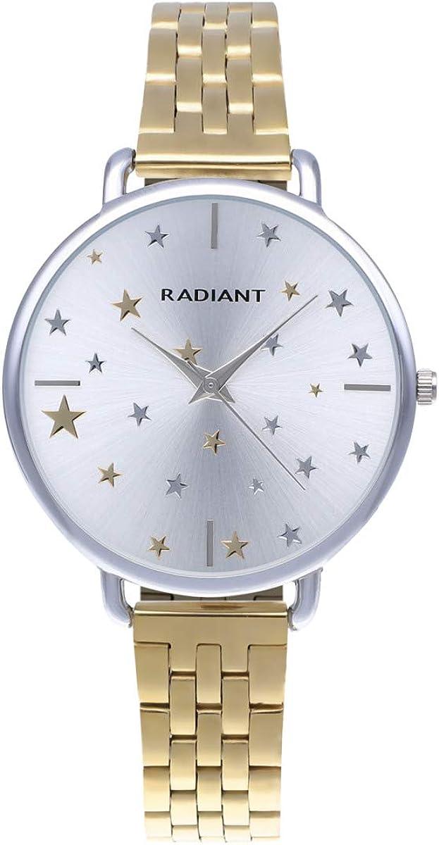 Reloj analógico para Mujer de Radiant. Colección Saint Laurent. Reloj Bicolor Plateado y Dorado con Brazalete y Esfera Blanca con pedrería y Estrellas. 3ATM. 38mm. Referencia RA544202.