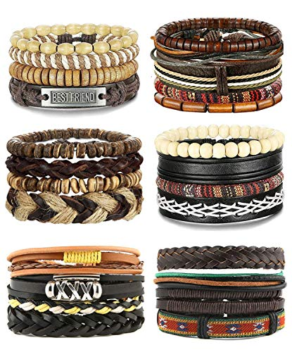Besteel 25 Pcs Braided Leather Bracelet for Men Women Wooden Beaded Cuff Wrap Bracelet Adjustable (D:25 Pcs A Set) (African Set Bracelet)