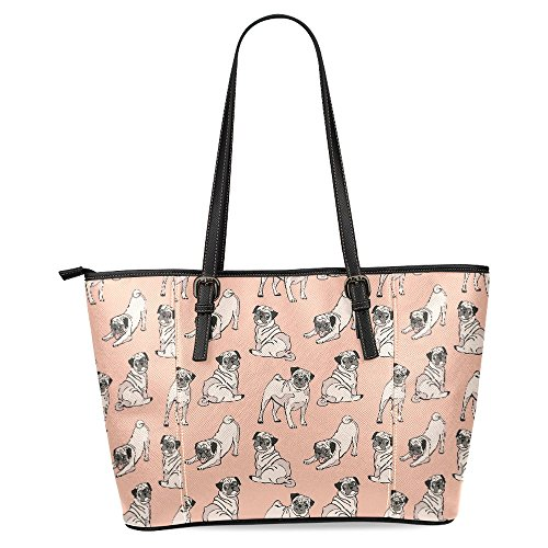 InterestPrint Cute Pug Dogs Women's Leather Tote Shoulder for sale  Delivered anywhere in USA