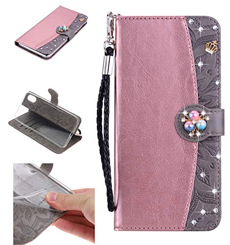 Amocase Strap Wallet Case with 2 in 1 Stylus for iPhone XS Max,3D Diamond Crown Color Block Premium Beaded Magnetic PU Leather Stand Clear Slicone Back Case for iPhone XS Max 6.5 inch - Rose Gold Gray