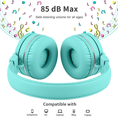 Kids Headphones Wired Toddler Headset with Mic 85dB Volume Limiting Stereo Foldable Lightweight Adjustable Children Headphones for Kids TV Tablets Laptops iPhone iPad Babies Boys Girls Picun – Green