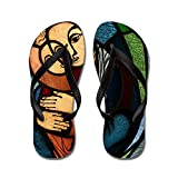 Truly Teague Kid's Stained Glass Mother and Child Black Rubber Flip Flops Sandals 1-4