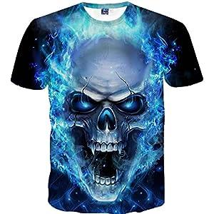 Mens Skull Tees Shirt, Short Sleeve T-Shirt 3D Printing Blouse Tops,Sunsee New
