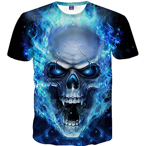 Mens Casual T-Shirt Skull 3D Printing Blue Flame Cool Tees Short Sleeve O-Neck Tees