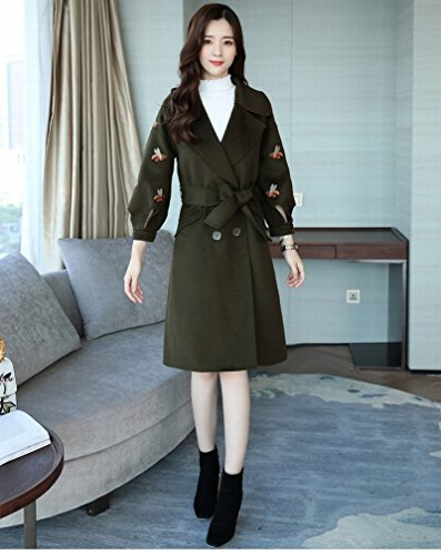 Coat Sleeve Clothing Sweet Long Knot Stylish Jacket Elegant Temperament LD Long Bow ArmyGreen Female SxYqERgnwH