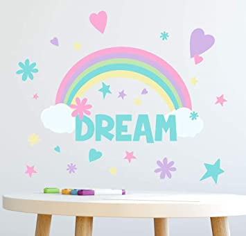 Amazon.com: Create A Mural Rainbow Dream Girls Wall Decals (118) Pieces For  Bedroom Peel And Stick Wall Decor Stickers For Nursery To Teen Girls: Baby