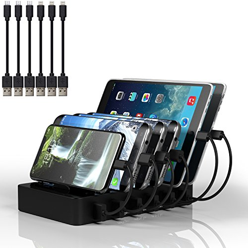 MSTJRY USB Charging Station for Multiple Devices Organizer 6 Port Multi device docking station for Apple and Android (Black, 6 shorts Cables Included) by MSTJRY