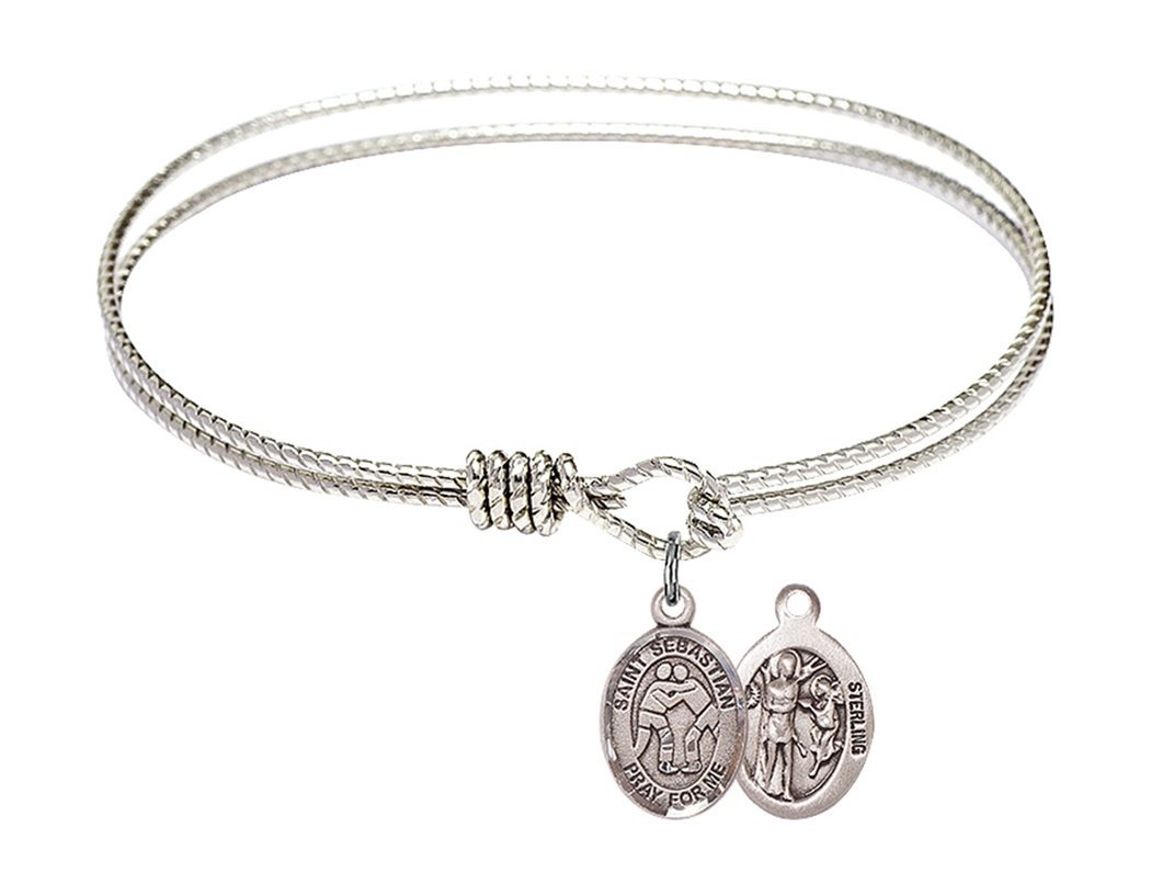 Rhodium Plate Textured Bangle Bracelet with Saint Sebastian Wrestling Athlete Petite Charm, 6 1/4 Inch by Charmingly Faithful