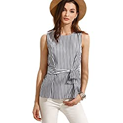 Verdusa Women's Sleeveless Twist Bow Slim Fit Tunic Striped Tank Blouse Top