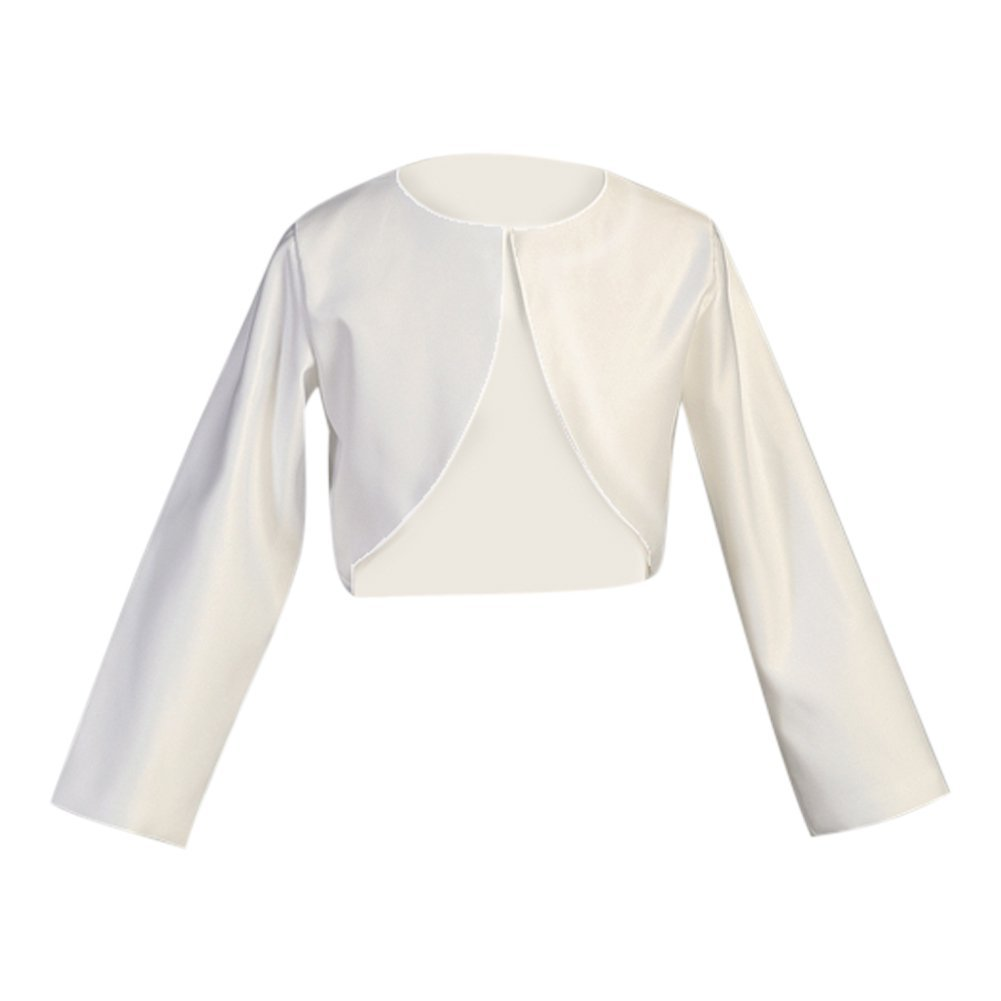 Lito Big Girls White Long Sleeve Satin Special Occasion Bolero 7-14